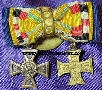 GERMANY - BOUTONNIERE - FIVE RIBBONS - TWO DECORATIONS - Imperial German Military Antiques Sale