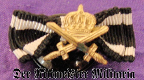 IMPERIAL GERMANY- MINIATURE - HOHENZOLLERN HOUSE ORDER KNIGHT'S CROSS WITH SWORDS AND IRON CROSS 2nd CLASS RIBBONS - Imperial German Military Antiques Sale