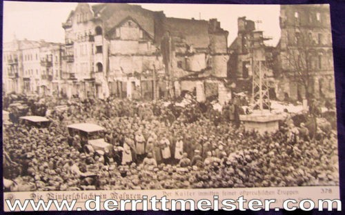 POSTCARD - KAISER WILHELM II WITH TROOPS - WINTER BATTLE OF MASUREN - Imperial German Military Antiques Sale