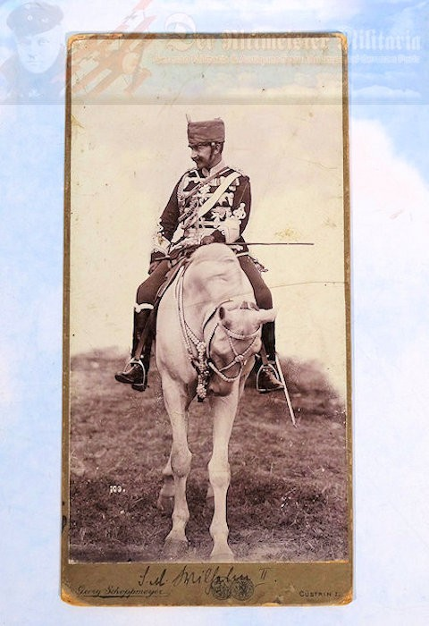 CABINET PHOTOGRAPH - KAISER WILHELM II - WEARING 1. LEIB-HUSAREN-REGIMENT NR 1's UNIFORM - MOUNTED ON HIS HORSE - Imperial German Military Antiques Sale