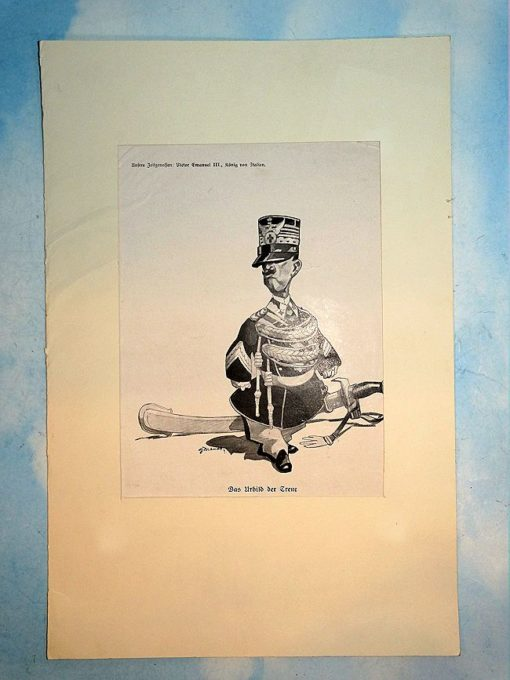 ITALY - CARICATURE - KING VICTOR EMANUEL III - Imperial German Military Antiques Sale
