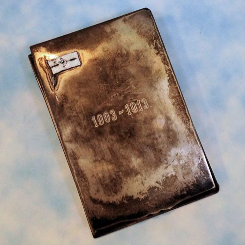 COMMEMORATIVE NAVAL OFFICER'S MEMO PAD HOLDER - MANUFACTURER'S & .800 SILVER HALLMARKS - Imperial German Military Antiques Sale