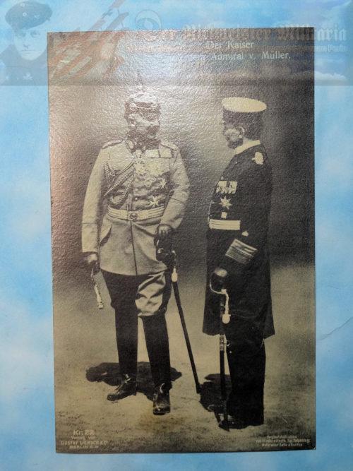 POSTCARD - KAISER WILHELM II AND ADMIRAL GEORG ALEXANDER VON MÜLLER