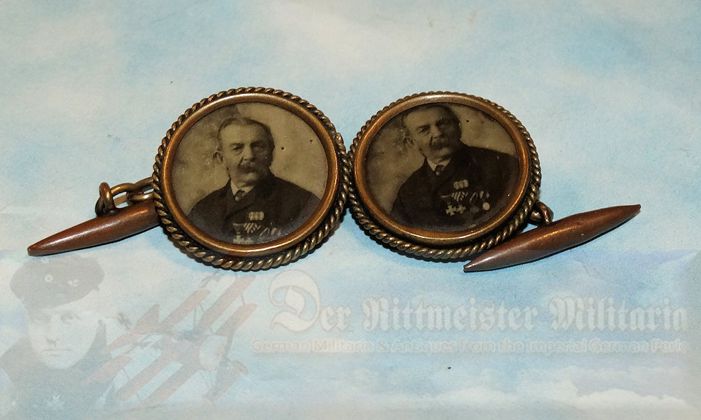 GERMANY – CUFF LINKS – COLORIZED LIKENESS OF OTTO VON BISMARCK