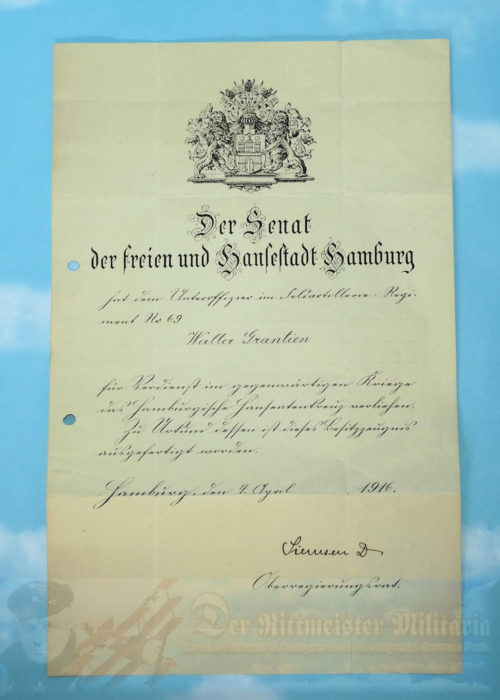 This is a fine pair of the award document and Hanseatic Hamburg Cross. This award was made to an Unteroffizier Walter Grantien who served in Infanterie-Regiment Nr 69. The date of the award was 4 April 1916. It was signed by an official from Hamburg.