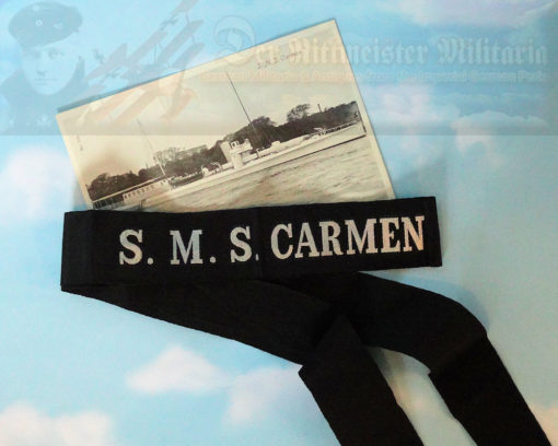 GERMANY - CAP TALLY AND POSTCARD - S.M.S. CARMEN