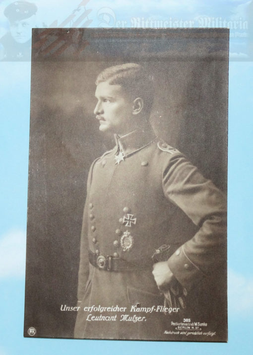 """This is Sanke Card Nr 385 of Leutnant Max Ritter von Mulzer. He was one of the earliest winners of the Orden Pour le Mérite, the coveted """"Blue Max."""""""