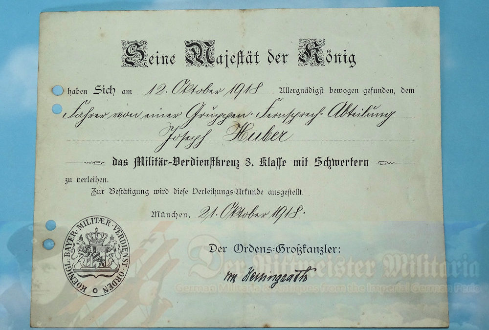 BAVARIA – AWARD DOCUMENT AND DECORATION – MILITARY SERVICE CROSS 3rd CLASS WITH SWORDS – Josef Huber