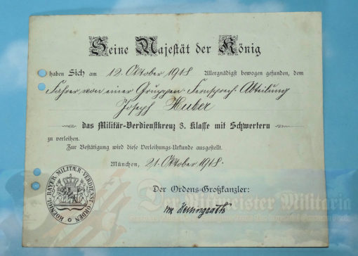 BAVARIA - AWARD DOCUMENT AND DECORATION - MILITARY SERVICE CROSS 3rd CLASS WITH SWORDS -  Josef Huber