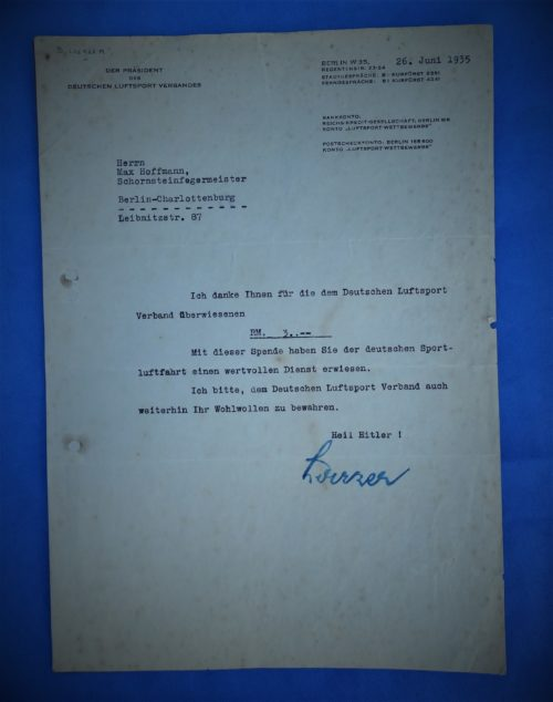 GERMANY - DOCUMENT  - AUTOGRAPHED - BRUNO LOERZER - POUR LE MÉRITE WINNER