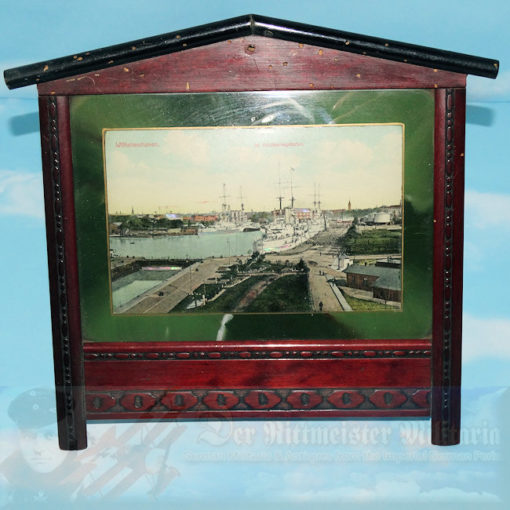 GERMANY - PERIOD FRAMED COLORIZED IMAGE OF THE PORT AT WILHELMSHAVEN