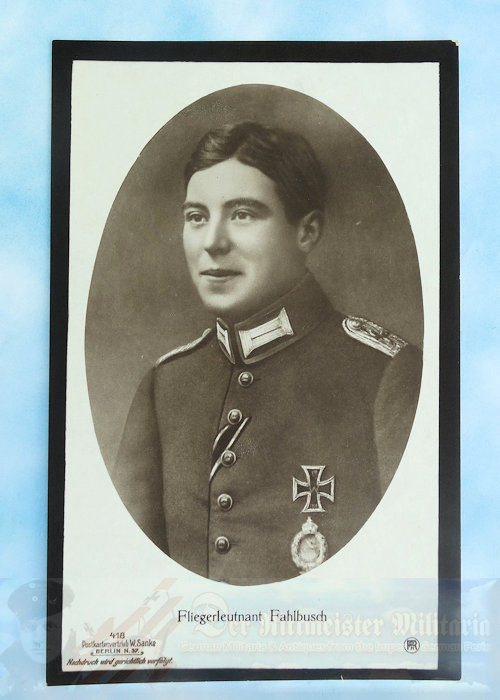 GERMANY - SANKE CARD - FLIEGERLEUTNANT WILHELM FAHLBUSCH - MOURNING CARD - NR 418