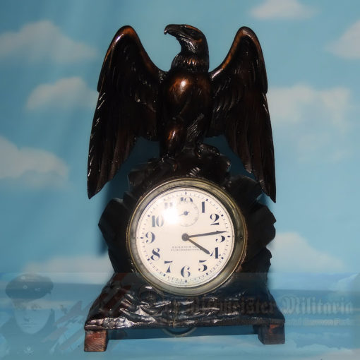 GERMANY - DESK PIECE - PILOT WATCH WITH HAND CARVED WOODEN STAND IN THE SHAPE OF AN EAGLE