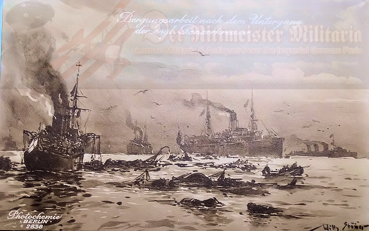 GERMANY – POSTCARD – FIRST U-BOOT COMMANDER OTTO-WEDDIGEN AND HIS U-9 WITH THE THREE BRITISH ARMORED CRUISER WHICH IT SANK