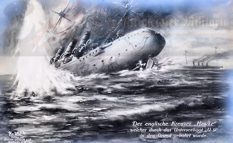 GERMANY – POSTCARD – FIRST U-BOOT COMMANDER OTTO-WEDDIGEN AND HIS U-9 DURING THE SINKING OF THREE BRITISH ARMORED CRUISERS
