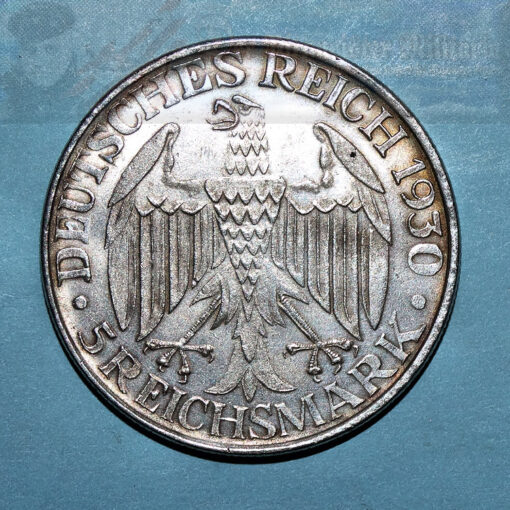GERMANY - CURRENCY - FIVE MARK DEUTSCHES REICH COIN COMMEMORATING THE WORLD TOUR OF THE ZEPPELIN GRAF ZEPPELIN